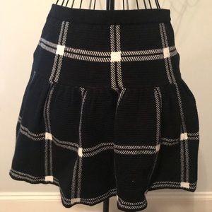 Cynthia Rowley Plaid Knit Mini Skirt L